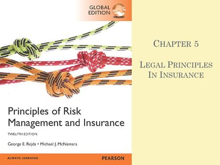 C HAPTER 5 L EGAL P RINCIPLES I N I NSURANCE. A GENDA Principle of Indemnity Principle of Insurable Interest Principle of Subrogation Principle of Utmost.