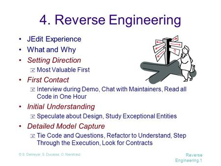 © S. Demeyer, S. Ducasse, O. Nierstrasz Reverse Engineering.1 4. Reverse Engineering JEdit Experience What and Why Setting Direction  Most Valuable First.