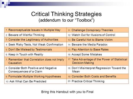 "Critical Thinking Strategies (addendum to our ""Toolbox"")"