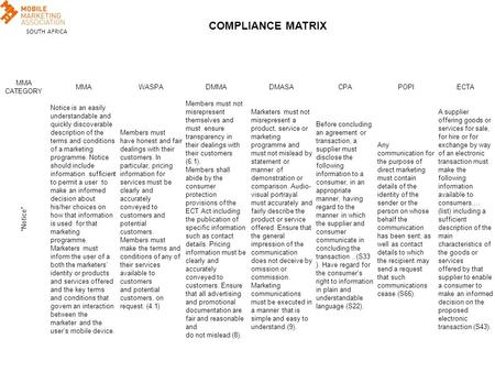 "SOUTH AFRICA COMPLIANCE MATRIX MMA CATEGORY MMAWASPADMMADMASACPAPOPIECTA ""Notice"" Notice is an easily understandable and quickly discoverable description."