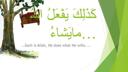 كَذَلِكَ يَفْعَلُ اللهُ مايَشاءُ… …Such is Allah, He does what He wills [Al-Imraan-40]