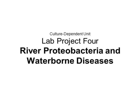 Culture-Dependent Unit Lab Project Four River Proteobacteria and Waterborne Diseases.