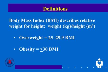 Definitions Body Mass Index (BMI) describes relative weight for height: weight (kg)/height (m 2 ) Overweight = 25–29.9 BMI Obesity = >30 BMI.