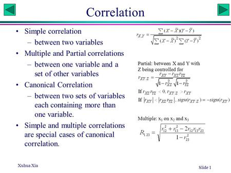 Xuhua Xia Slide 1 Correlation Simple correlation –between two variables Multiple and Partial correlations –between one variable and a set of other variables.