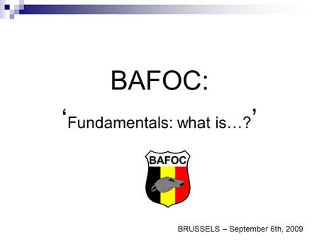 BAFOC: ' Fundamentals: what is…? ' BRUSSELS – September 6th, 2009.