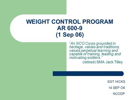 WEIGHT CONTROL PROGRAM AR (1 Sep 06)