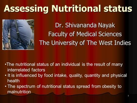 Assessing Nutritional status