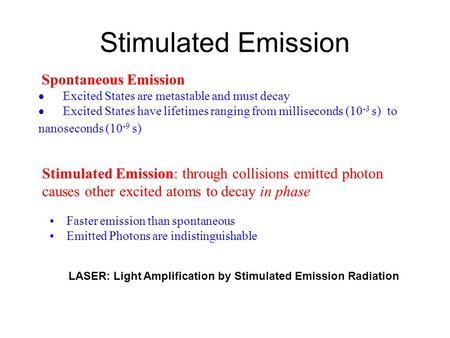 Stimulated Emission LASER: Light Amplification by Stimulated Emission Radiation Spontaneous Emission  Excited States are metastable and must decay  Excited.