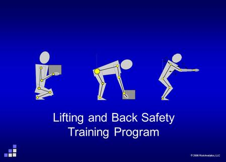  2006 RiskAnalytics, LLC Page 1 Lifting and Back Safety Training Program  2006 RiskAnalytics, LLC.
