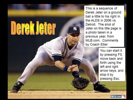 This is a sequence of Derek Jeter on a ground ball a little to his right in the ALDS in 2006 vs. Detroit. The shot of Jeter on this title page is a photo.
