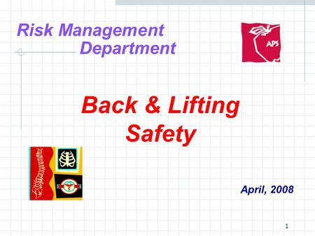 1 Risk Management Department Back & Lifting Safety April, 2008.