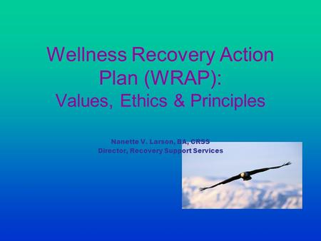 Wellness Recovery Action Plan (WRAP): Values, Ethics & Principles