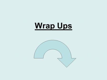 Wrap Ups. WHERE? Comes at the end of all body paragraphs. WHAT? Signaling to your reader you are finishing up your thoughts on this main idea. HOW? What.
