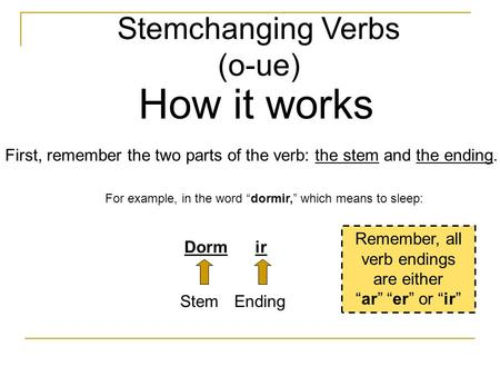 "Stemchanging Verbs (o-ue) How it works First, remember the two parts of the verb: the stem and the ending. For example, in the word ""dormir,"" which means."