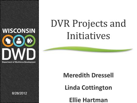 8/28/2012 DVR Projects and Initiatives Meredith Dressell Linda Cottington Ellie Hartman.