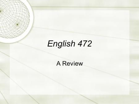 English 472 A Review. Overview  Histories  Theories  Questions and Quandaries.
