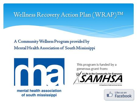 Wellness Recovery Action Plan (WRAP)™ A Community Wellness Program provided by Mental Health Association of South Mississippi This program is funded by.