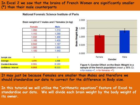 In Excel 2 we saw that the brains of French Women are significantly smaller (*) than their male counterparts It may just be because Females are smaller.