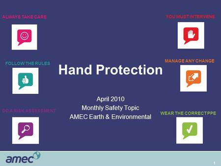 1 Hand Protection April 2010 Monthly Safety Topic AMEC Earth & Environmental WEAR THE CORRECT PPE DO A RISK ASSESSMENT FOLLOW THE RULES ALWAYS TAKE CARE.