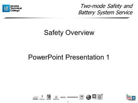 1 Two-mode Safety and Battery System Service Safety Overview PowerPoint Presentation 1.