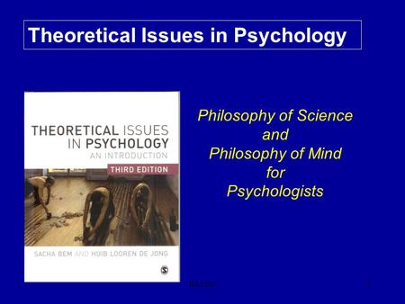 B&LdeJ1 Theoretical Issues in Psychology Philosophy of Science and Philosophy of Mind for Psychologists.