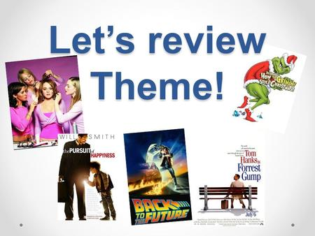 Let's review Theme!. What is a Theme? Theme: Life lesson, meaning, moral, or message about life or human nature that is communicated by a literary work.