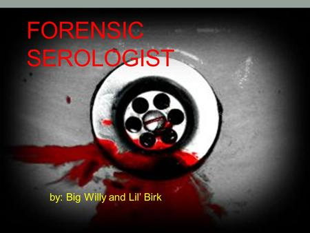 FORENSIC SEROLOGIST by: Big Willy and Lil' Birk. Description of Serologist Determination of the type and characteristics of blood, blood testing, bloodstain.