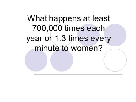 What happens at least 700,000 times each year or 1.3 times every minute to women? ______________.