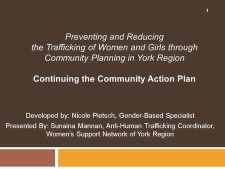 Continuing the Community Action Plan
