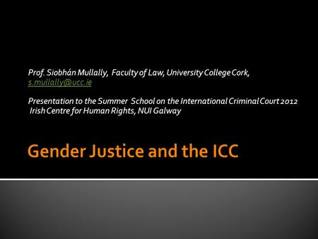 Prof. Siobhán Mullally, Faculty of Law, University College Cork,  Presentation to the Summer School on the International.