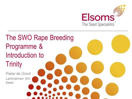 The SWO Rape Breeding Programme & Introduction to Trinity Pieter de Groot Lantmännen SW Seed.