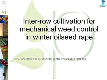 Inter-row cultivation for mechanical weed control in winter oilseed rape WP2, Innovative IPM solutions for winter wheat based rotations.