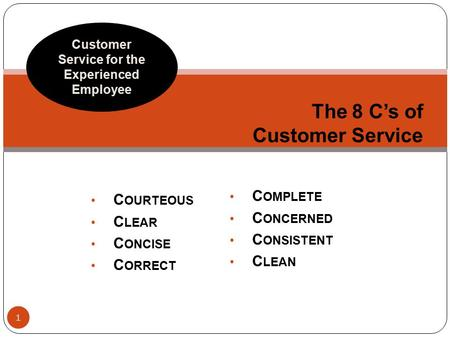 C OURTEOUS C LEAR C ONCISE C ORRECT The 8 C's of Customer Service Customer Service for the Experienced Employee C OMPLETE C ONCERNED C ONSISTENT C LEAN.