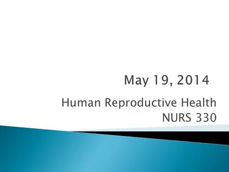 Human Reproductive Health NURS 330.  Contraception (Guest Lecture)  Review Mid-term  5/12/14 In-class Assignment  Mid-Quarter Grades  Lecture  Homework.
