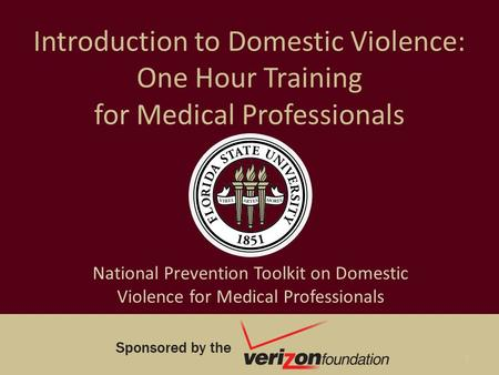 Introduction to Domestic Violence: One Hour Training for Medical Professionals National Prevention Toolkit on Domestic Violence for Medical Professionals.