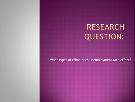What types of crime does unemployment rate effect?