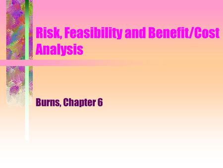 Risk, Feasibility and Benefit/Cost Analysis Burns, Chapter 6.