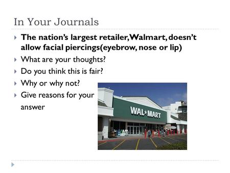 In Your Journals The nation's largest retailer,Walmart, doesn't allow facial piercings(eyebrow, nose or lip) What are your thoughts? Do you think this.