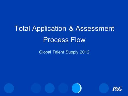 Total Application & Assessment Process Flow Global Talent Supply 2012.