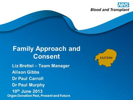 Organ Donation Past, Present and Future Family Approach and Consent Liz Brettel – Team Manager Alison Gibbs Dr Paul Carroll Dr Paul Murphy 10 th June 2013.