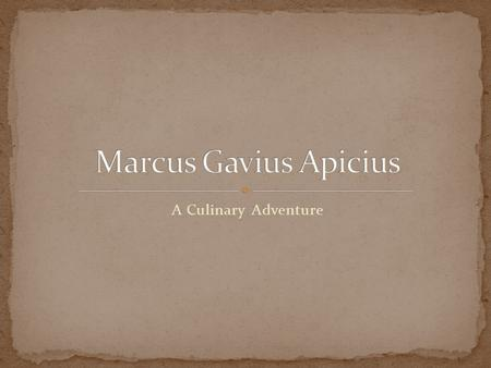 A Culinary Adventure.  it's the first century AD  You are Marcus Gavius Apicius. We don't know much about your early life, so we are going to make it.