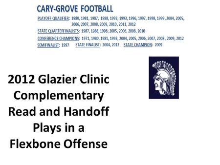 1 2012 Glazier Clinic Complementary Read and Handoff Plays in a Flexbone Offense.