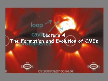Lecture 4 The Formation and Evolution of CMEs. Coronal Mass Ejections (CMEs) Appear as loop like features that breakup helmet streamers in the corona.