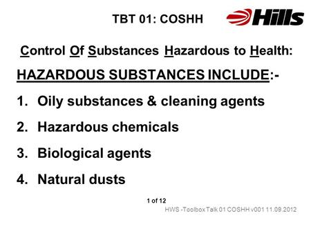 Control Of Substances Hazardous to Health: