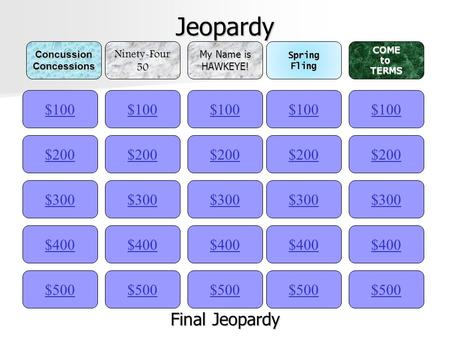 Jeopardy $100ConcussionConcessionsNinety-Four50 My Name is HAWKEYE!SpringFlingCOMEtoTERMS $200 $300 $400 $500 $400 $300 $200 $100 $500 $400 $300 $200.