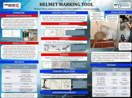 HELMET MARKING TOOL Michael Meck, Katherine Bagwell, Chad Wilkinson, Tristan Assimos BACKGROUND INFORMATION PROJECT SCOPE FINAL DESIGN CONCEPT GENERATION.