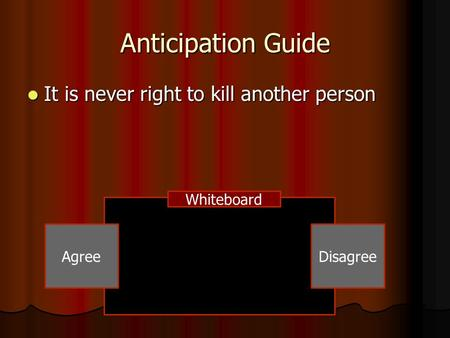 Anticipation Guide It is never right to kill another person Whiteboard