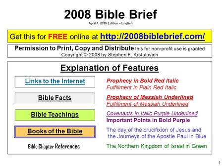 2008 <strong>Bible</strong> Brief April 4, 2010 Edition – English
