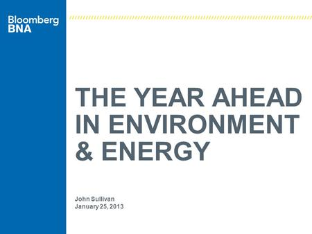 THE YEAR AHEAD IN ENVIRONMENT & ENERGY John Sullivan January 25, 2013.