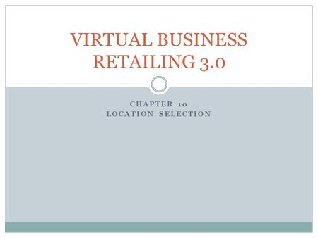 VIRTUAL BUSINESS RETAILING 3.0